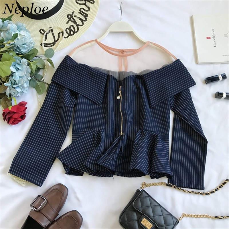 Gasa Camisa Neploe Blusas blue A Ropa Mujeres De Las Sexy Coreano Superior 37353 Camisas Corta Nuevo Blusa 2019 Slim Rayas Black Patchwork qgwxqfY