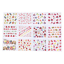 DIY Color Tattoo Tip Decor Mixed 12Pcs Fruit Water Transfer Nail Sticker Decals Beauty Decoration Designs(China)