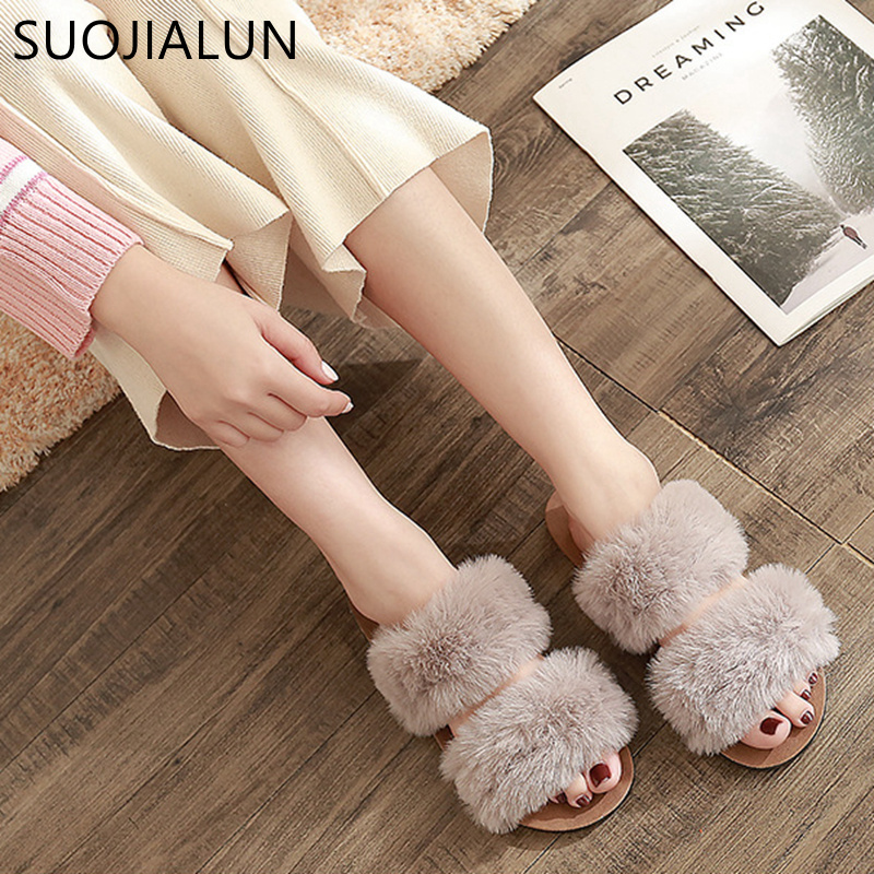 SUOJIALUN 2019 Casual Slipper Flip Flop Sandal Womens Slippers Zapatos Mujer Ladies Slip On Flat Fluffy Faux Fur Sliders Size 41SUOJIALUN 2019 Casual Slipper Flip Flop Sandal Womens Slippers Zapatos Mujer Ladies Slip On Flat Fluffy Faux Fur Sliders Size 41