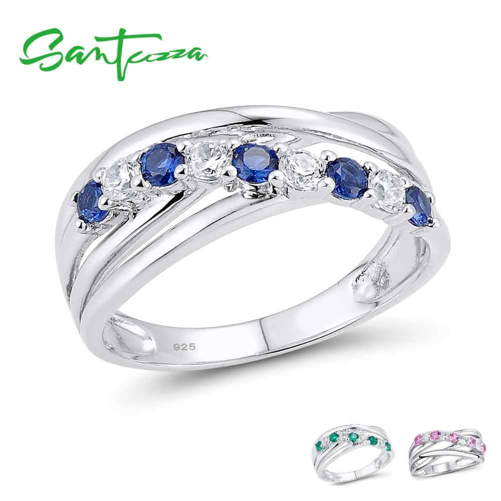 SANTUZZA Silver Ring For Women 925 Sterling Silver Fashion Round Rings for Women Blue Pink Green Ring Party Jewelry