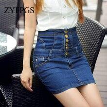 ZYFPGS 2019 Denim Skirt Golden Buttons Womens skirt Pure Color Blue And Black New Summer Fashion Waistline Discount Z0505