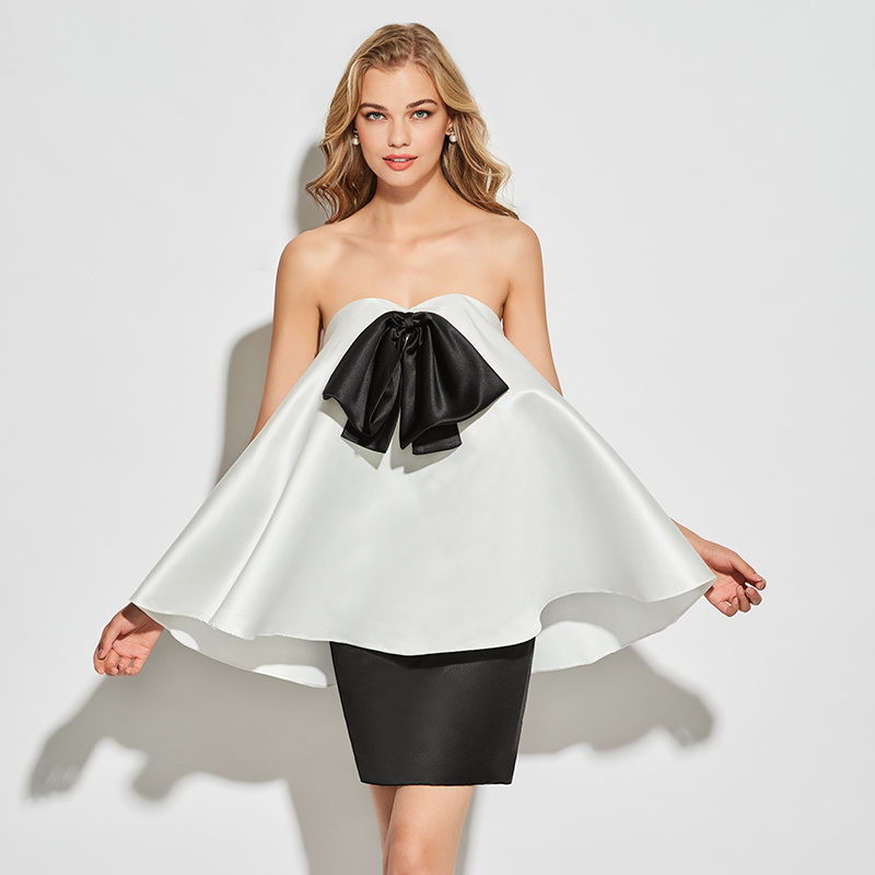 Tanpell strapless   cocktail     dress   black bowknot above knee a line gown cheap women party formal customed short   cocktail     dresses