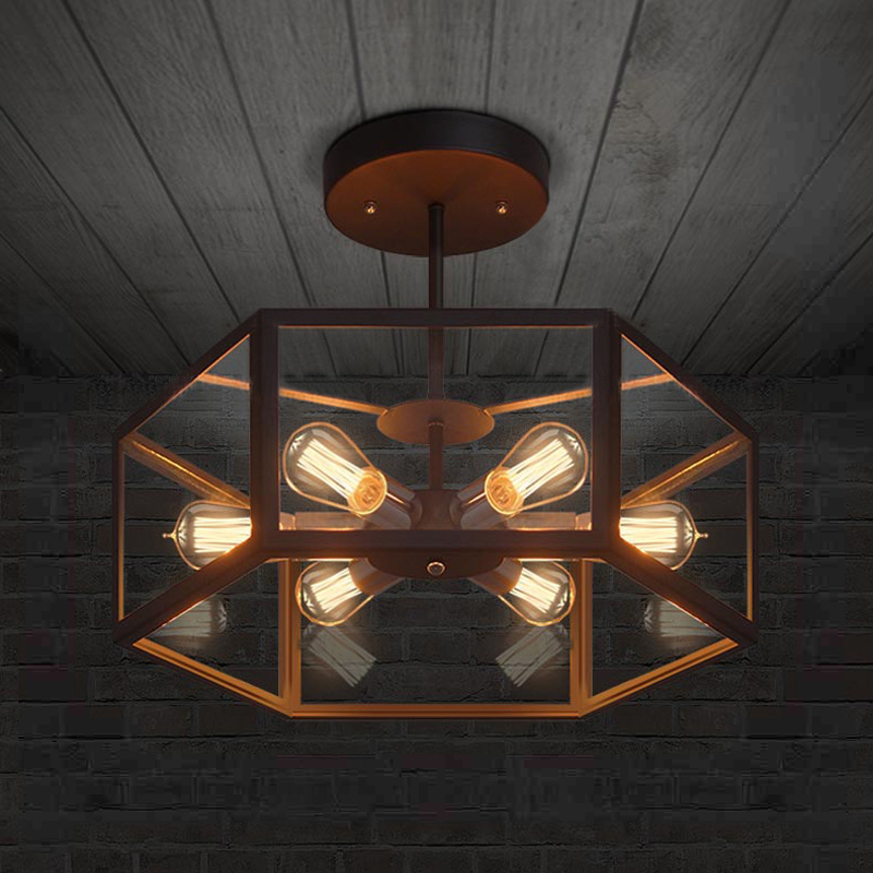 American industrial retro style creative Cafe restaurant light bar Hexagonal glass ceiling lamp