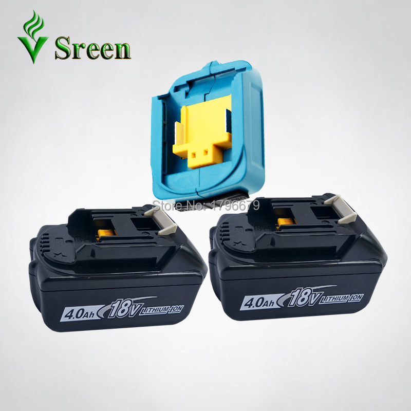 2PCS 4000mAh Lithium Ion Rechargeable Power Tool Battery with Dual USB Adapter Replacement for Makita 18V BL1840 BL1830 LXT