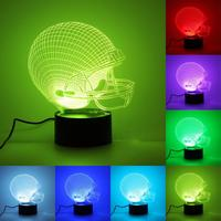 Rugby Cap 3D Night Light 7 Color Change LED Table Lamp Gift