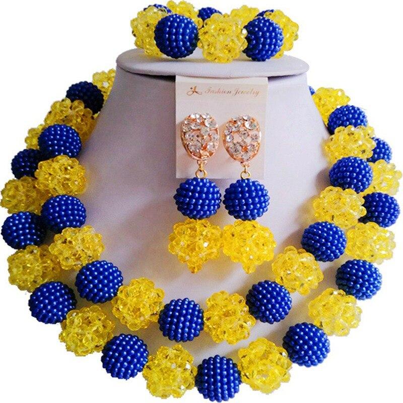Style National Royal bleu jaune femmes africaines mariage cristal collier ensembles de bijoux 2C-ZZSJ-26Style National Royal bleu jaune femmes africaines mariage cristal collier ensembles de bijoux 2C-ZZSJ-26
