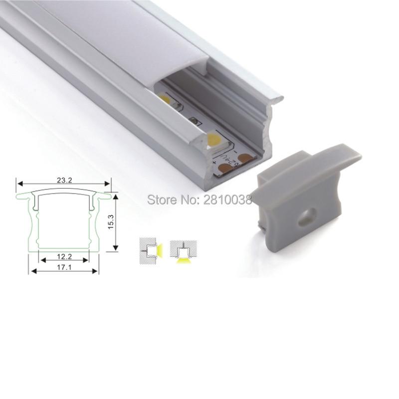 100 x 1M komplekti / partija Iegremdētas sienas alumīnija profils LED sloksnēm un kanālu ekstrūzijai sienas vai grīdas apgaismojumam