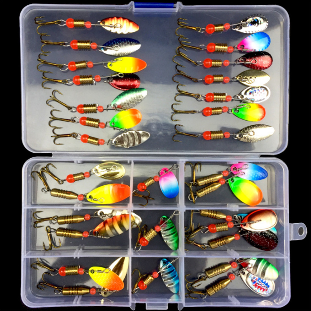 FISHINAPOT 30pcs/10pcs Boxed Mixed Rotating  Spoon Fishing Lures Spinner Artificial Sequins Baits For Bass Trout Perch Pike