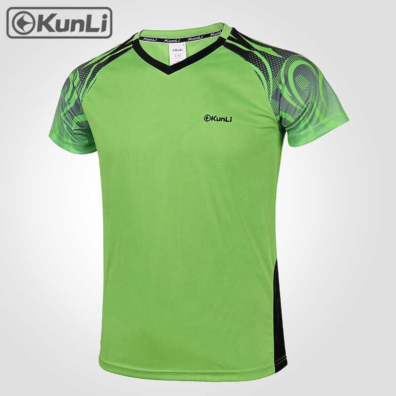 Kunli короткая теннисная рубашка мужская спортивная одежда для бадминтона одежда для бега футболка баскетбольная волейбольная рубашка