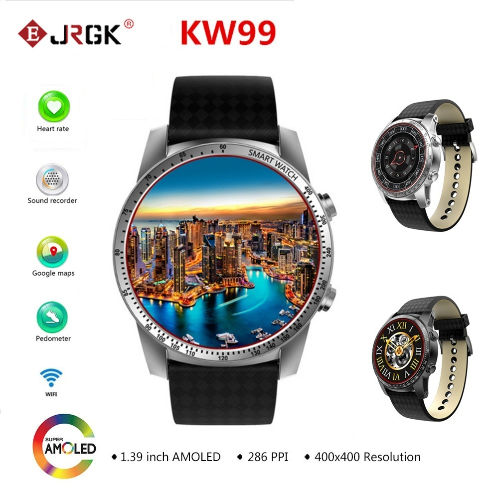 Newest KW99 3G Smartwatch Phone Android 1.39'' MTK6580 Quad Core Heart Rate Monitor Pedometer GPS Smart Watch For Mens pk KW88