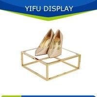 סיטונאי מדף נעליים זהב מתכת מלוטש עבור חנויות, נעליים הקמעונאי Shlves תצוגה עבור חנות