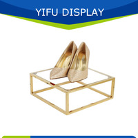 Wholesale Metal Polished Gold Shoe Shelf For Shops, Retail Shoe Display Shlves For Store