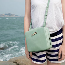 2015 PU Square Setchel Messenger Bag With Funny Metal Label For Girls Of 6 Colors&Patterns(FUN KIK)