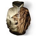 2016 New Sweatshirt Fall Casual Animal Hoodies 3D Lion Sweatshirt Print Lion Head Hip Hop Hoodies Street Wear Free Shipping