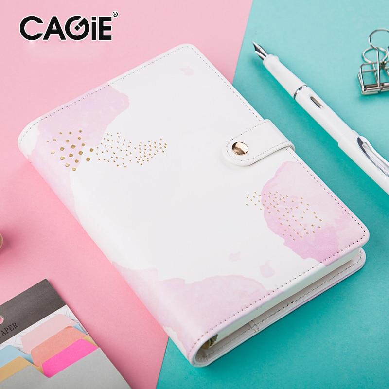 CAGIE A6 Binder Kawaii Notebook Leather Cute Planner