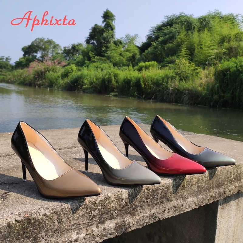 Aphixta sapatos femininos de salto fino, ponteira bico de 10cm, sapatos de festa de casamento, tamanho grande 48