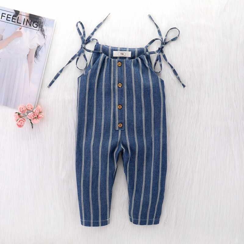 Baby Clothes Girl Summer Strap Rompers Stripes Print Toddler Long Jumpsuits Navy Blue Infant Kids Sleeveless Overalls
