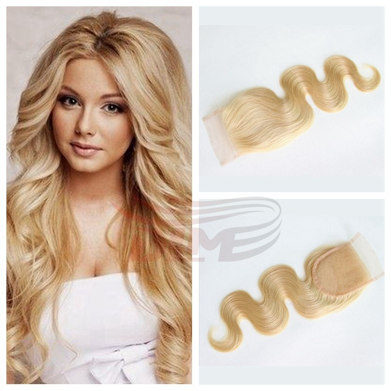 ФОТО 613 Mongolian Hair Closure Bleached Knots Free Part body wave Blonde Lace Closure 4x4 Human Remy Mongolian Hair Blonde Closure