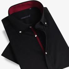 2017 Summer Mens Short sleeve Diamond Double Layer Collar Dress Shirt Business Casual Slim Fit Solid Color 100% Cotton Shirt Men