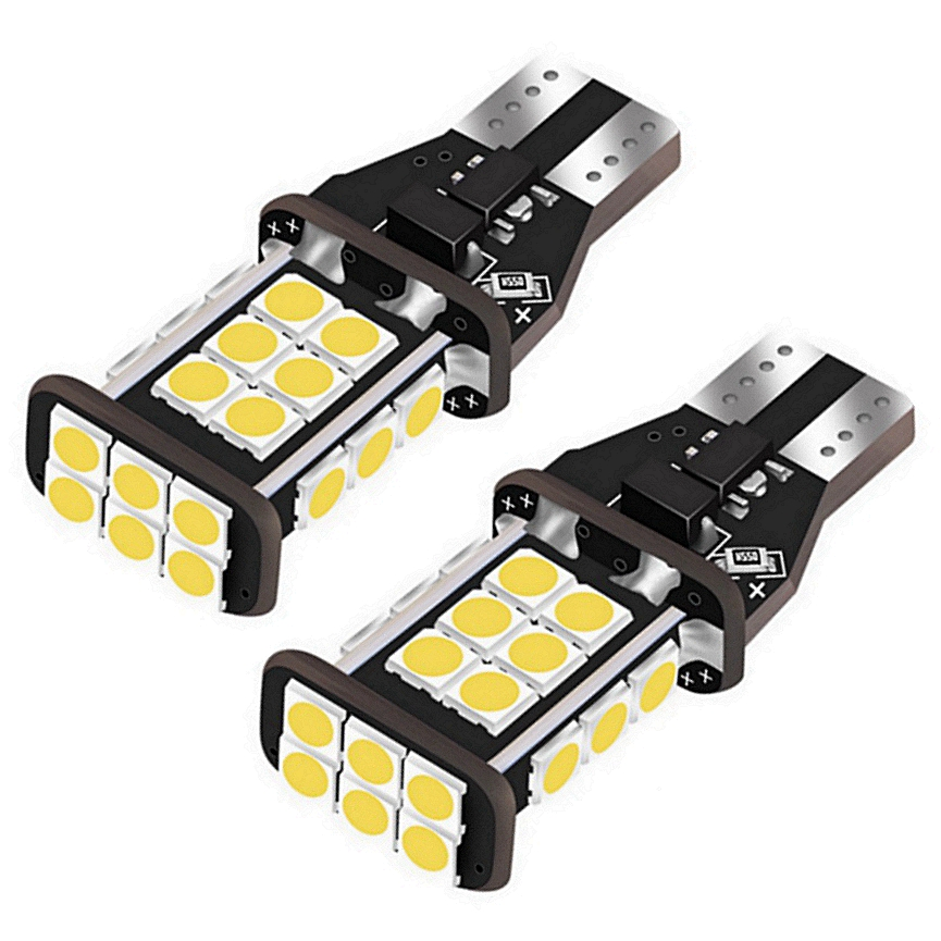 Xenon White No Error Canbus T15 W16W 5630 COB 15-LED Backup Reverse Light BulbX2