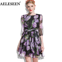 AELESEEN European Dresses Elegant 2018 Summer Runway New Casual Fashion 3 4 Lantern Sleeve Tulip Print