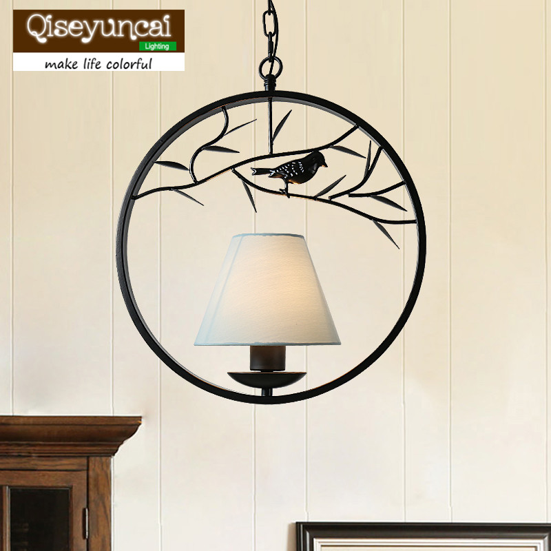 Qiseyuncai American Country Round Wrought Iron Retro Chandelier Living Room Dining Room Creative Garden Bird Lighting loft american country to do the old retro furniture wrought iron bar chairs antique dinette living room leisure chair