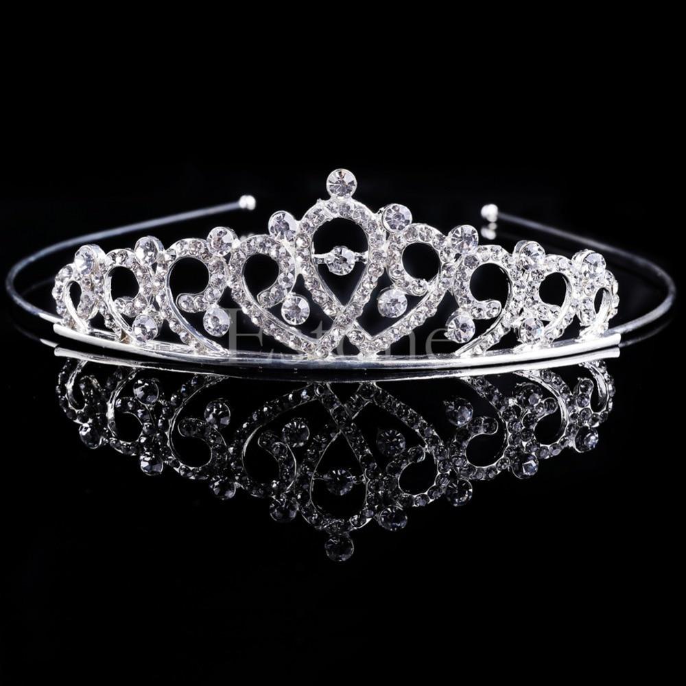 Wedding Bridal Princess Crystal Tiara Hair Crown Headband Bands Comb Veil