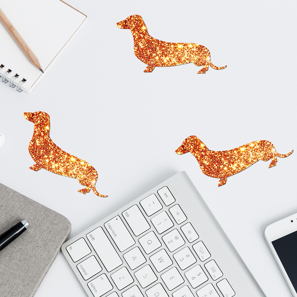 decorative glitter or bronze dachshund stickers decals glitter sticker wall picture for home christmas decorations for home in wall stickers from home