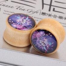 Aliexpress  purple flowers burst wood bones real ear piercing jewelry PLUG expansion Earrings plugs and tunnels body jewelry