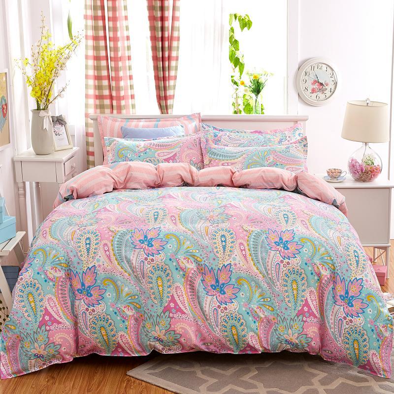 UNIHOME Cotton Blend Duvet Cover Sets, Vintage Floral Pattern Design(hongfengjiaren)