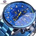 Reloj Automático Forsining para hombre reloj azul correa de acero calendario 3 reloj de pulsera de Dial mecánico resistente al agua reloj Masculino