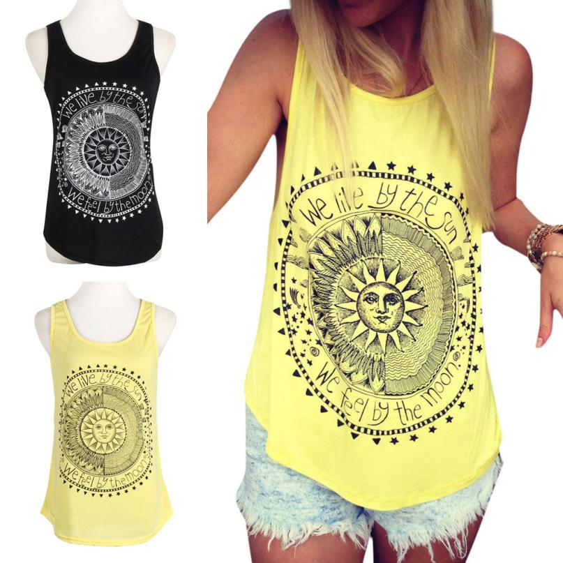 KANCOOLD Tops High Quality Sexy Sun Printed Sleeveless Vest Tee T-Shirt Casual Tank Summer Tops For Women 2018 Ap27