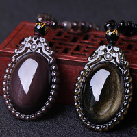 Hot Sell Women's Pendant Necklace Natural Ice Colorful Golden Obsidian Stone Heart of the Sea Pendant Gift For Female's Jewelry