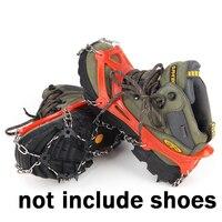 1 pair 18 أسنان مخالب الفولاذ الصلب القابض الجليد التزلج تسلق أحذية الثلج الجليد الأشرطة