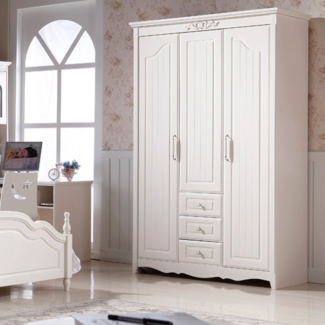 Korean Countryside Wardrobe Closet White Three Adolescent Children Bedroom  Furniture Small Closet Wardrobe Closet Wardrobe