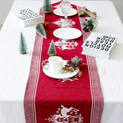 Christmas Table Runner Tablecloth Elk Printed Linen New Year Party Table Dinner Decor Xmas Decoration Gifts for Home 35 X 170cm