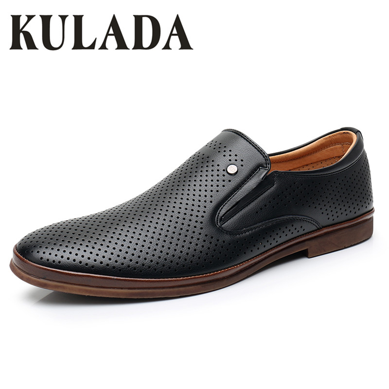 KULADA 2019 Men Classics Sandals Summer Fashion Shoes Hollow-Out Leather Casual Comfortable Shoes Breathable Men Casual Shoes(China)