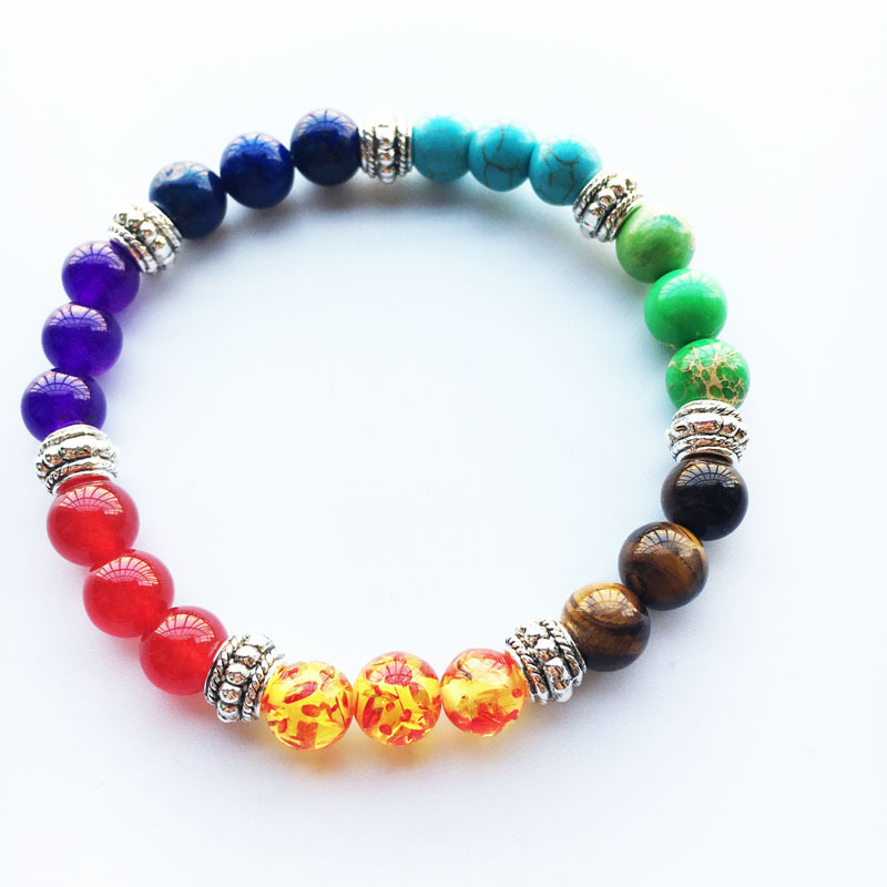 New Rainbow Beads Bracelets for Women Jewelry Healing Balance Buddha Prayer Natural Stone Bracelet Ladies Braslet Woman Gift