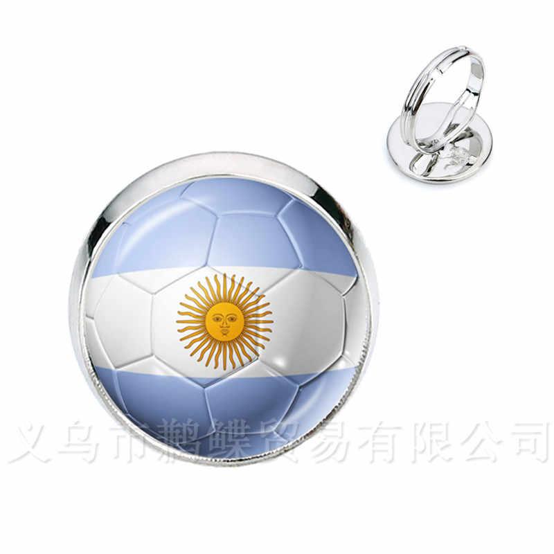 Clássico Anéis 2018 Copas Do Mundo de Futebol Nacional Bandeira Do Panamá, Austrália, Egito, Argentina, Rússia, Alemanha, dinamarca, Polónia, Futebol Souve