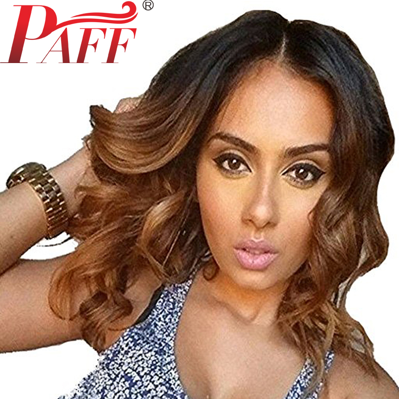 PAFF short wavy lace front wig ombre color glueless Virgin hair Brazilian two tone 1B 30
