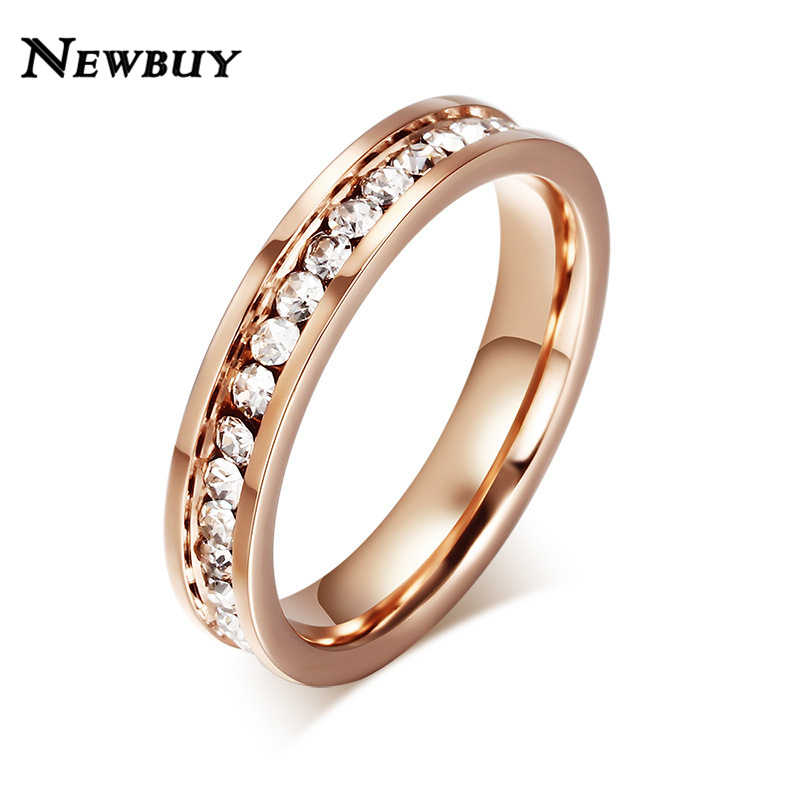 NEWBUY 4mm Rose Gold Color Stainless Steel Ring For Women Clear AAA+ Cubic Zirconia Ring Female Engagement Jewelry Wholesale