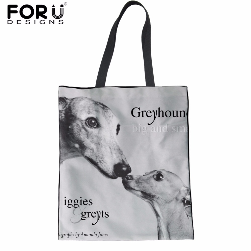 FORUDESIGNS Cute Dark Grey Italian Greyhound Women Shoulder Bag Girls School Bookbag Fashion Canvas Shopping Tote Handbag Female