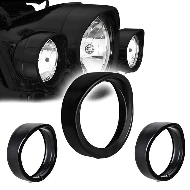 "4 1/2"" 4.5 inch LED Auxiliary Lights Trim Ring For Harley Street Glide+7 inch Motorcycle Led Headlights Trim Ring black Chrome"