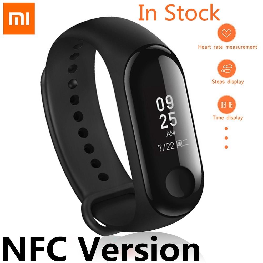 Neueste Original Xiao mi mi Band 3 Smart Band NFC Version Fitness Tracker Heart Rate Monitor 5ATM Wasserdichte Bluetooth Armbänder