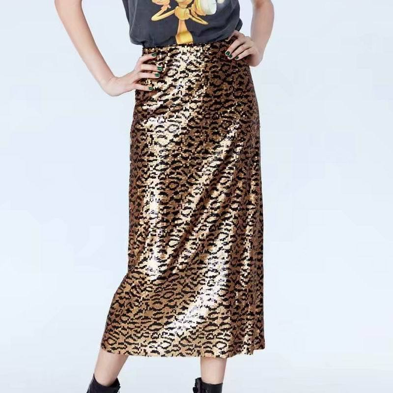 ZA 2019 Spring Women's Sequin Leopard Knitted Women's Skirt Half Skirt