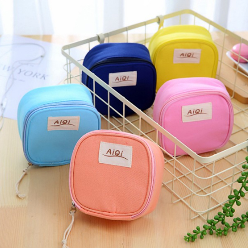 Makeup-Bag Sanitary-Napkin-Bags Travel-Organizer Multifunctional Candy-Colors Large-Capacity