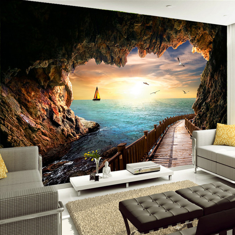 Custom mural wallpaper wall covering cave sea view sunset for Custom mural wall covering
