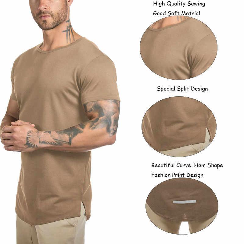 8a40ecd70 ... Mens Gyms Muscle T Shirt Fitness Bodybuilding Workout Curved Hem Short  Sleeve Longline Hip Hop 2018 ...