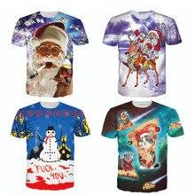 2017 New Novelty Christmas Series 3D T Shirt Cartoon Santa Claus Print t-shirt Women Men Fitness Tops Best Christmas Gift R2496