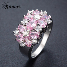 Bamos Shining Flower Stone Jewelry Pink Birthstone Rings for